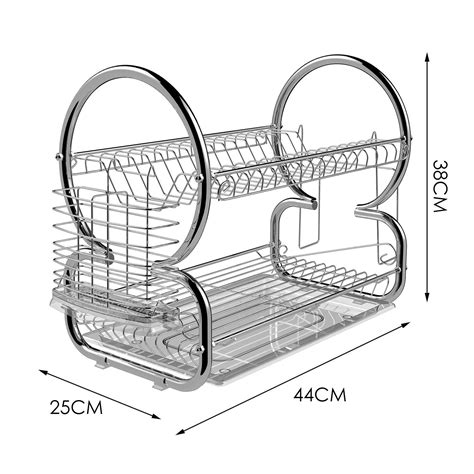 F14 Dish Rack 2 Tier Stainless Steel Dish Drainer Rak Piring 2 Tingk 2 tier stainless steel dish rack cup drying rack best