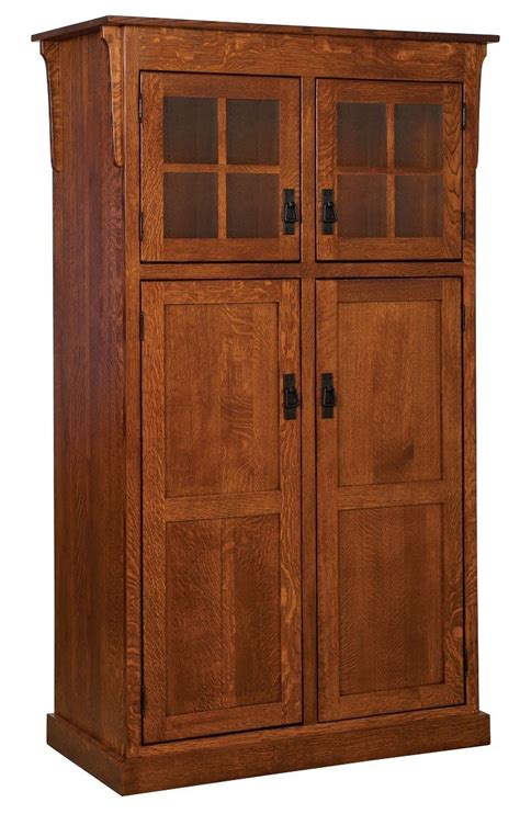 Wood Pantry Cabinet Amish Mission Rustic Kitchen Pantry Storage Cupboard Roll