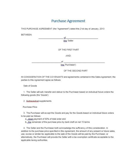 37 Simple Purchase Agreement Templates Real Estate Business Land Purchase Agreement Template