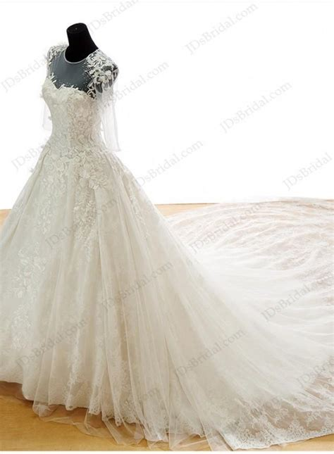 cathedral wedding dress is048 luxury lace princess wedding dress with big