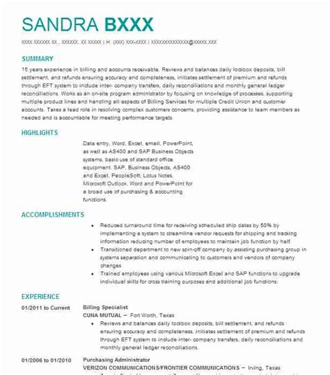 Billing Specialist Resume Sle Accountant Resumes Livecareer Billing Specialist Resume Template