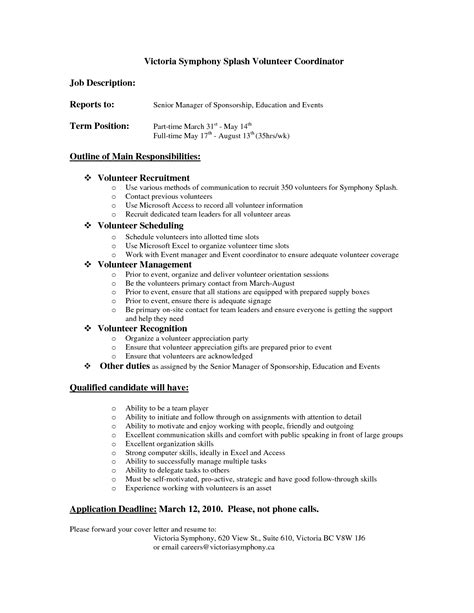 Volunteer Resume by Best Photos Of Volunteer Descriptions For Resume