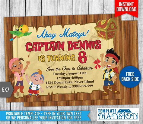 jake and the neverland pirates invitation 2 by