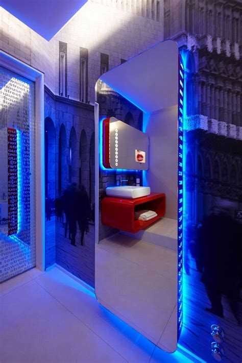 interior gleaming futuristic room with blue led lights also town house street boutique hotel milan 187 retail design blog