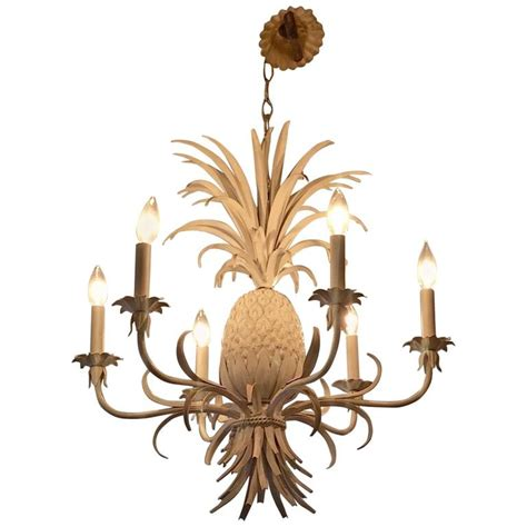 Pineapple Chandelier Glamorous White Painted Tole And Iron Pineapple Chandelier At 1stdibs