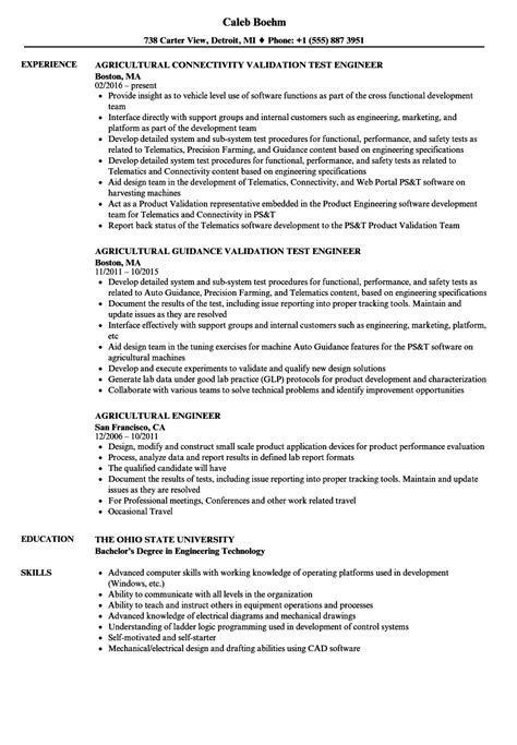 agricultural engineer resume sles velvet