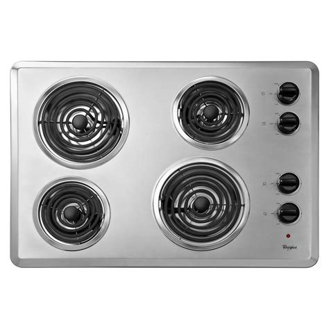 top electric cooktops whirlpool 30 in coil electric cooktop in chrome with 4