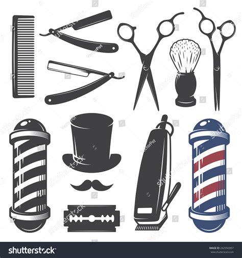 Set Of Style By Aybie Shop set vintage barber shop elements monochrome stock vector