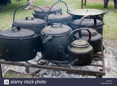cast iron cooking cast iron cooking pots open stock photo royalty