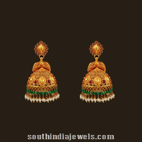 Jewellery Gold Design Angti by Gold Antique Bridal Jhumka From Vbj South India Jewels