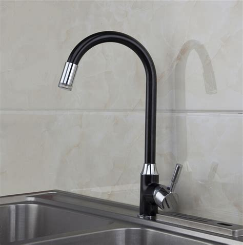kitchen faucet black finish fashion brass chrome and black finish cold and led