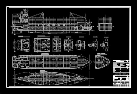 ship dwg general arrangement container in autocad cad 927 28 kb
