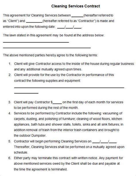 contract for cleaning services template cleaning contract template 17 word pdf documents