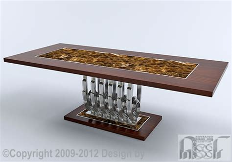 Home Design Board Art Deco Design Dining Table Advanced Stainless Steel