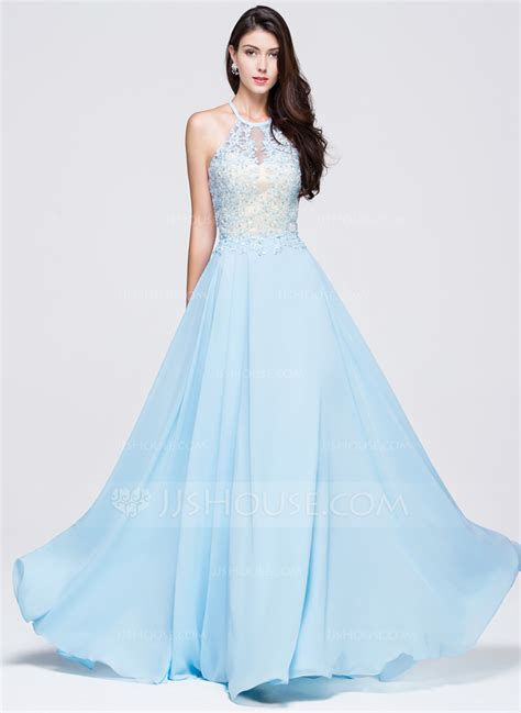 jjs house a line princess scoop neck floor length chiffon prom dress with beading appliques lace