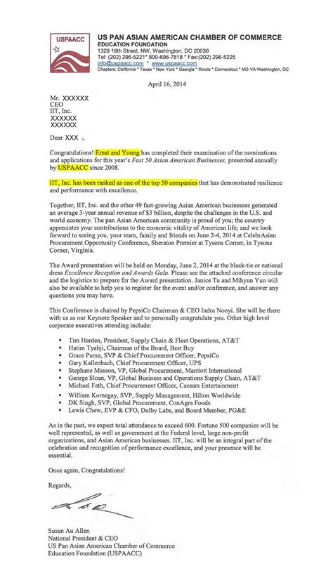 Award Announcement Letter Information Technology Companies Of The United States