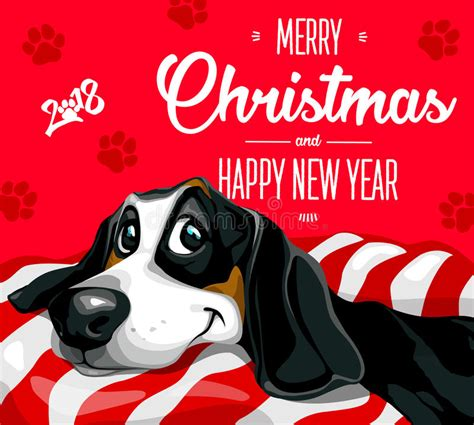 happy new year puppy merry and a happy new year 2018 happy puppy stock vector