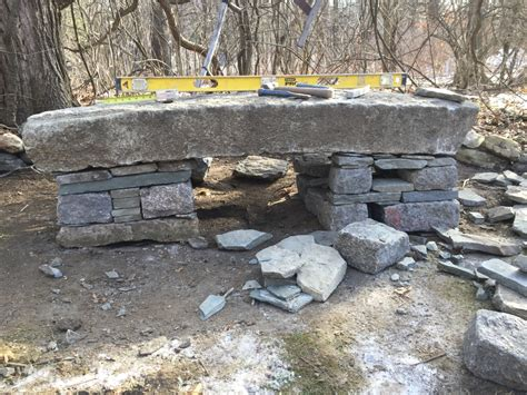 bench stone dry stack stone bench concord stoneworks