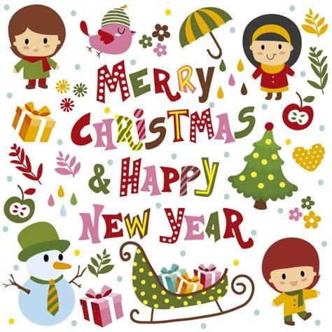 merry christmas  happy  year card vector
