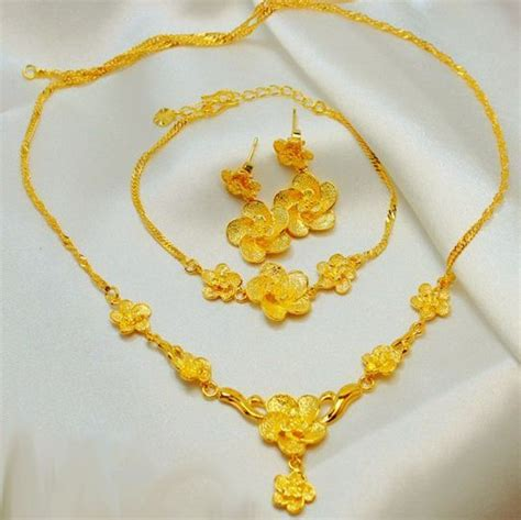 24k Gold Plated Flower Design Jewelry Set 3 pieces, price