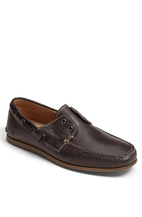 john varvatos schooner boat shoe in brown for men gun - John Varvatos Boat Shoes