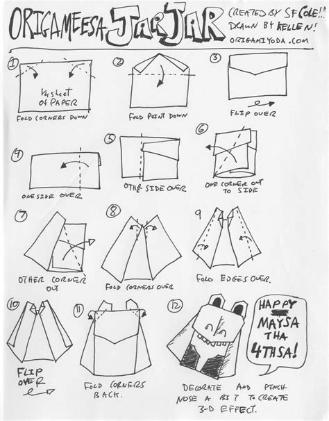 Wars Origami Characters - wars origami a list of diagrams for folding