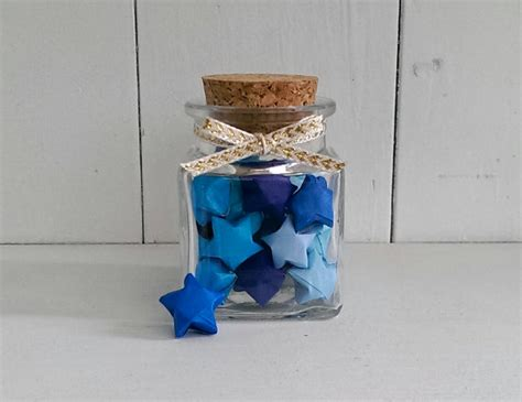 Jar Of Origami - square jar of blue origami
