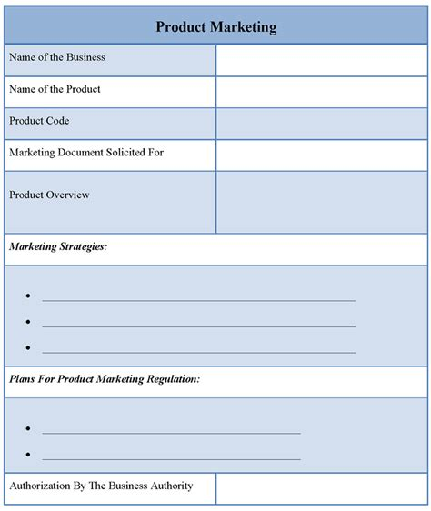template for marketing product exle of product