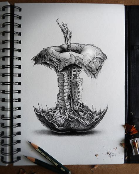 new york artist builds the most mind blowing sandcastles thought provoking graphite pencil drawings comment on the