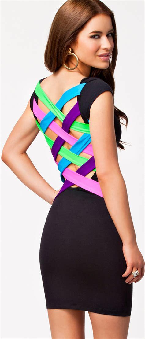 color cross multi colour cross back dress n8608