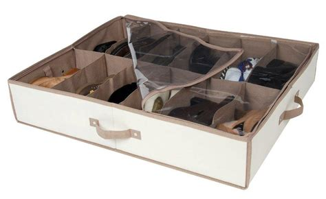 bed shoes storage pro mart dazz underbed shoe organizer beige