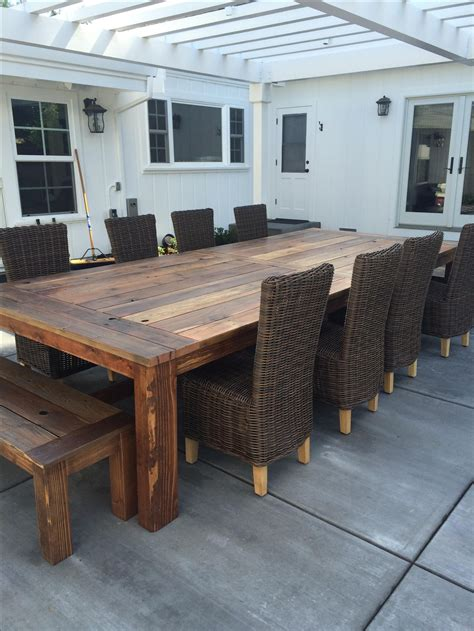 outdoor farm table and bench handmade reclaimed wood farm table outdoor or indoor by