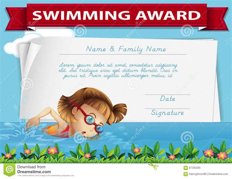 swimming award certificate template swimming award certificate template stock illustration