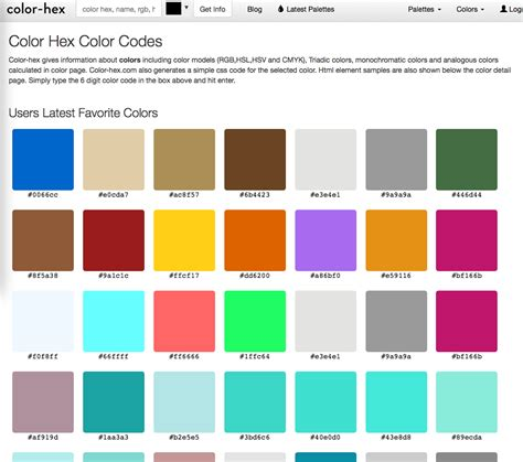 color hex page for web colors palettes legal design