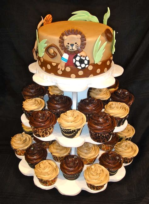 Cupcake Tower For Baby Shower by Safari Baby Shower Cupcake Tower Cakecentral