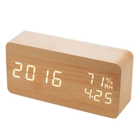 wooden desk clock digital led wood wooden desk alarm clock timer thermometer