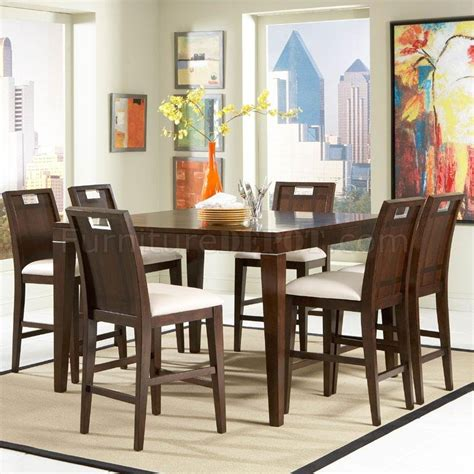brown finish modern counter height dining table w options