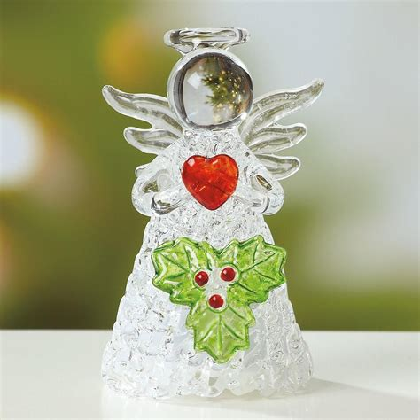 glass angels that light up light up glass angel with holly figurine current catalog