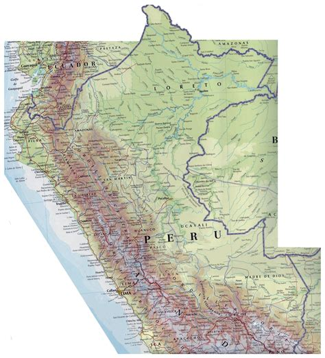road map of peru large detailed road map of peru peru large detailed road