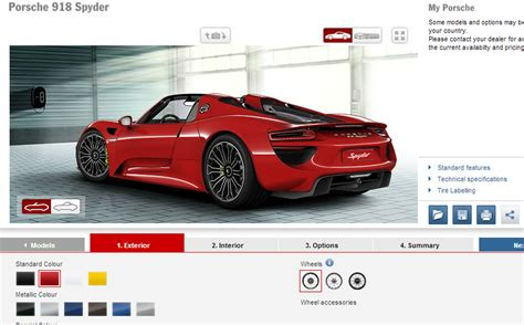 porsche configurator build your dream porsche 918 spyder with official configurator