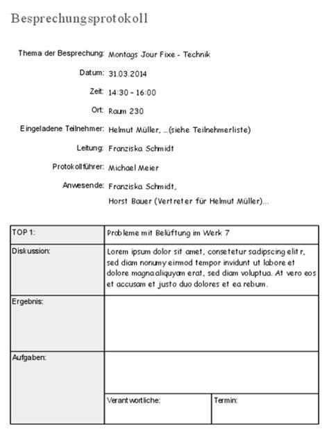 Template Protokoll Vorlage Meeting Vorlage Und Tipps F 252 Rs Besprechungsprotokoll Business Wissen De