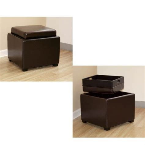 Ottoman With Reversible Tray Wholesale Interiors Baxton Studio Brown Leather Ottoman With Reversible Tray Top