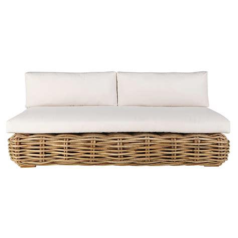 divanetto rattan divanetto da giardino 3 posti in rattan con cuscini 233 cru