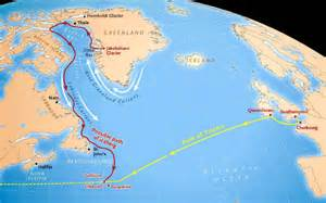Titanic Route Map by Route Of The Titanic And A Possible Path For The Iceberg