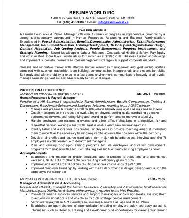 Hr Manager Resume by Hr Resumes 9 Free Word Pdf Documents Free