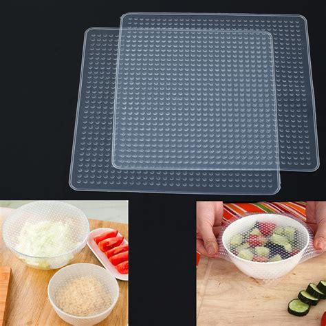 Silicone Stretch Fresh Food Cling Protection Silikon Peli Xwf3 2pcs multifunctional reusable silicone food fresh keeping saran wrap stretch seal vacuum cover