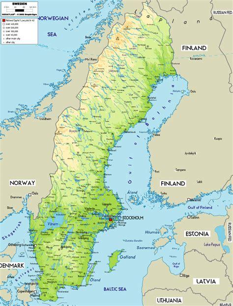 physical map of sweden schweden bergen karte