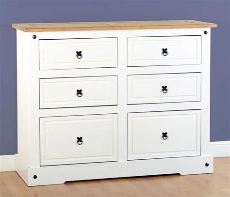 White Chest Of Drawers Solid Wood by White Corona Pine Chest Of 6 Drawers Two Tone Mexican