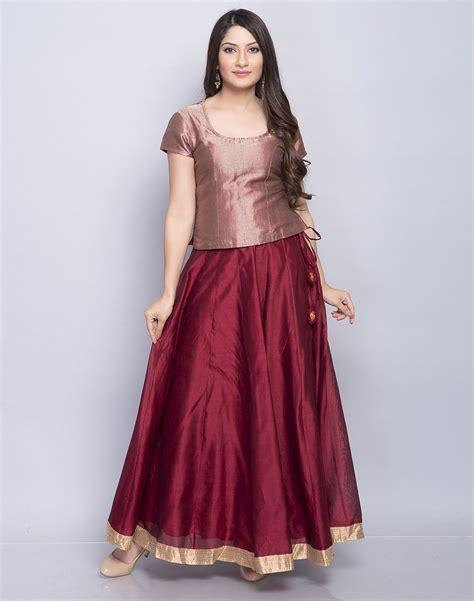 Buy Fabindia Maroon Silk Cotton Brocade Top Skirt Set online   Fabindia.com
