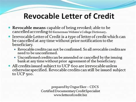 Revocable Credit Letter Types Of Letters Of Credit Presentation 5 Lc Worldwide International Letter Of Credit